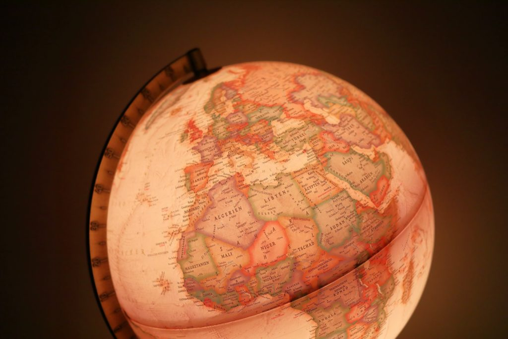 globe showing Africa and Europe