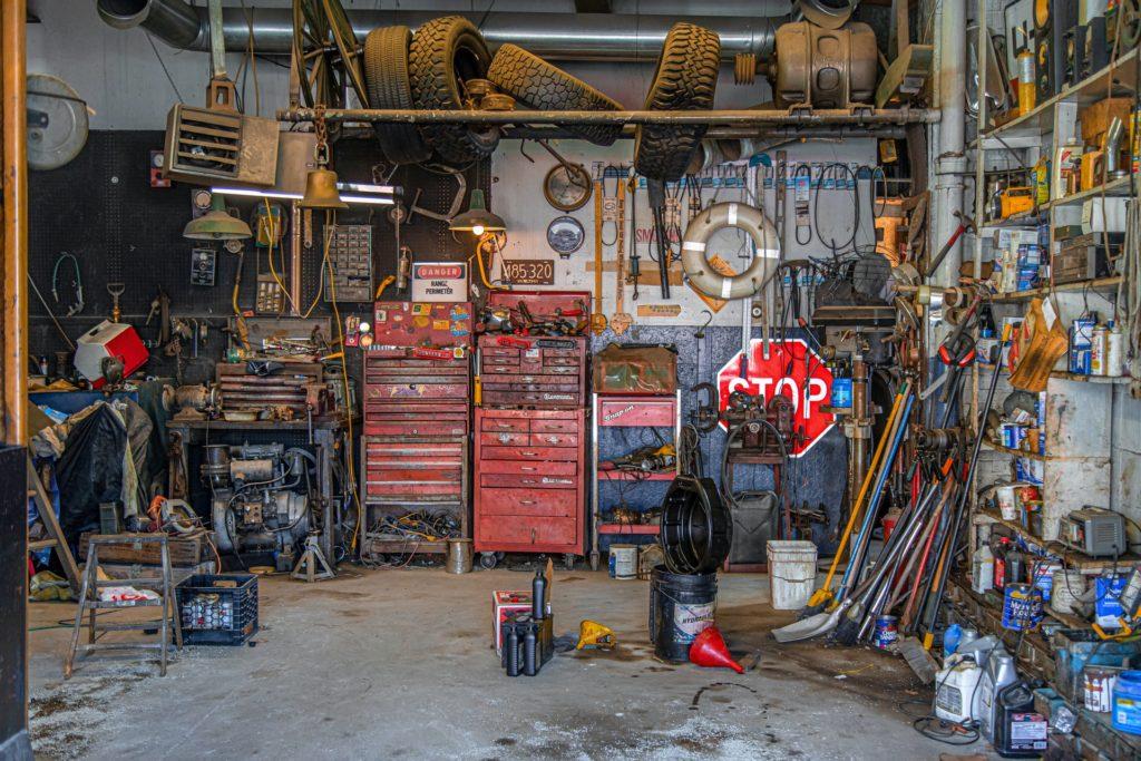 messy garage workspace