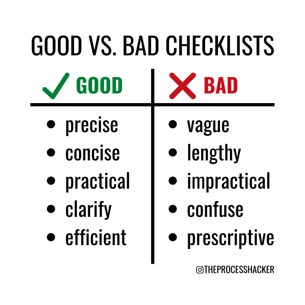 atul gawande of the checklist manifesto tells us the difference between good and bad checklists