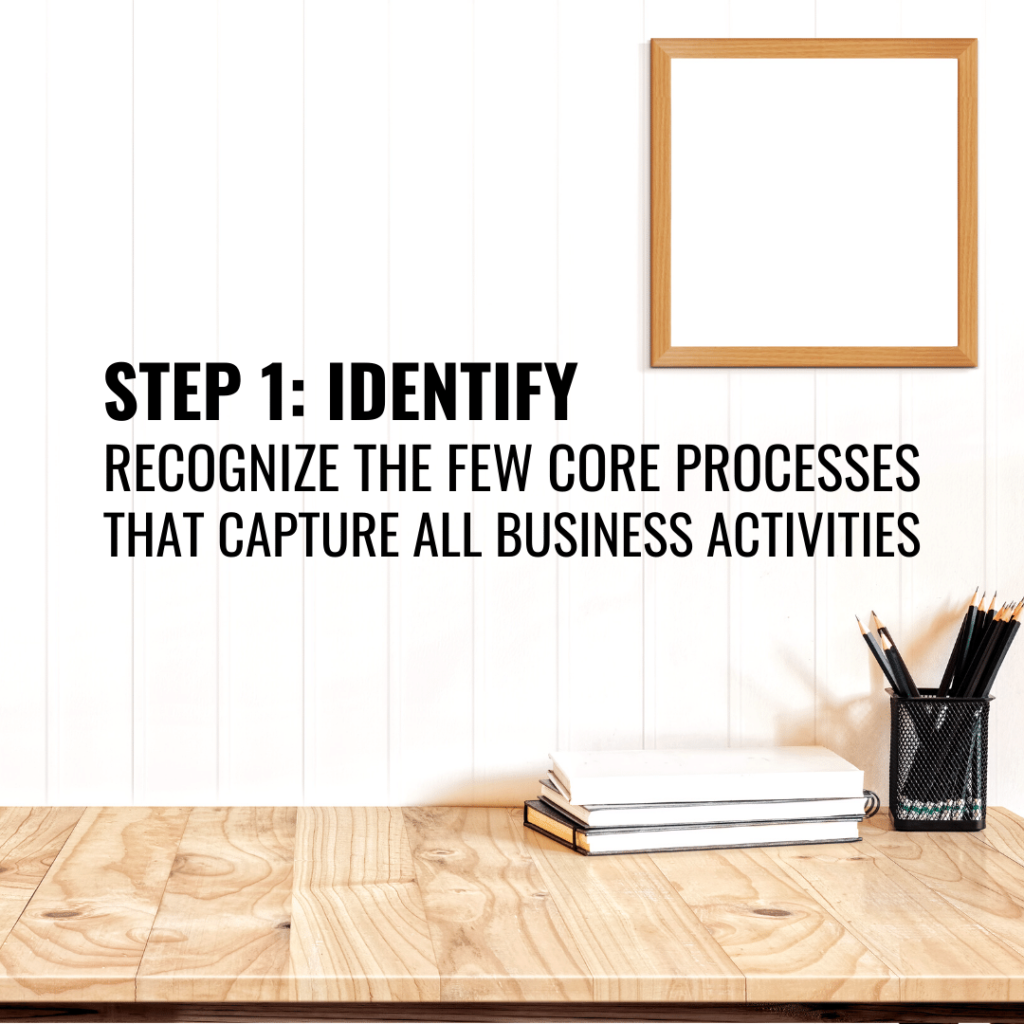 identify the few core processes that capture all business activities