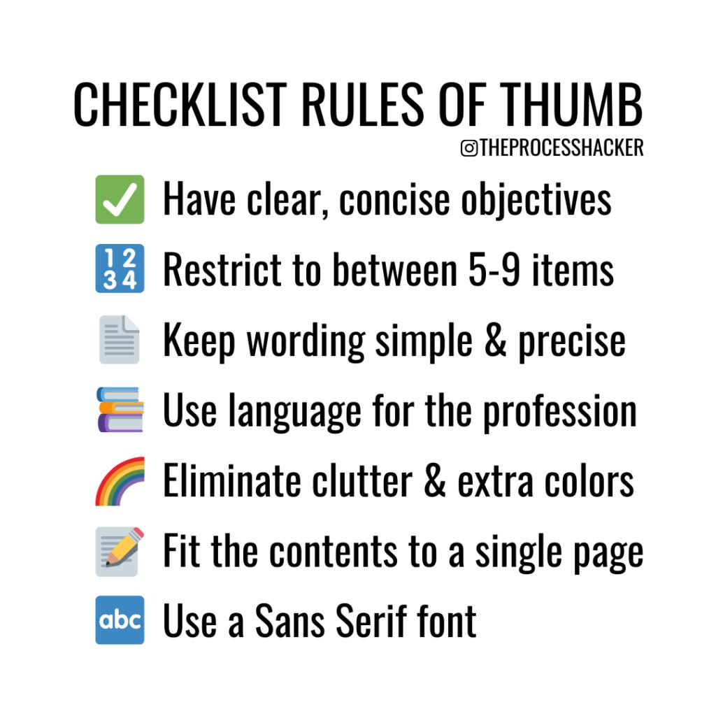 the checklist manifesto rules for creating a checklist