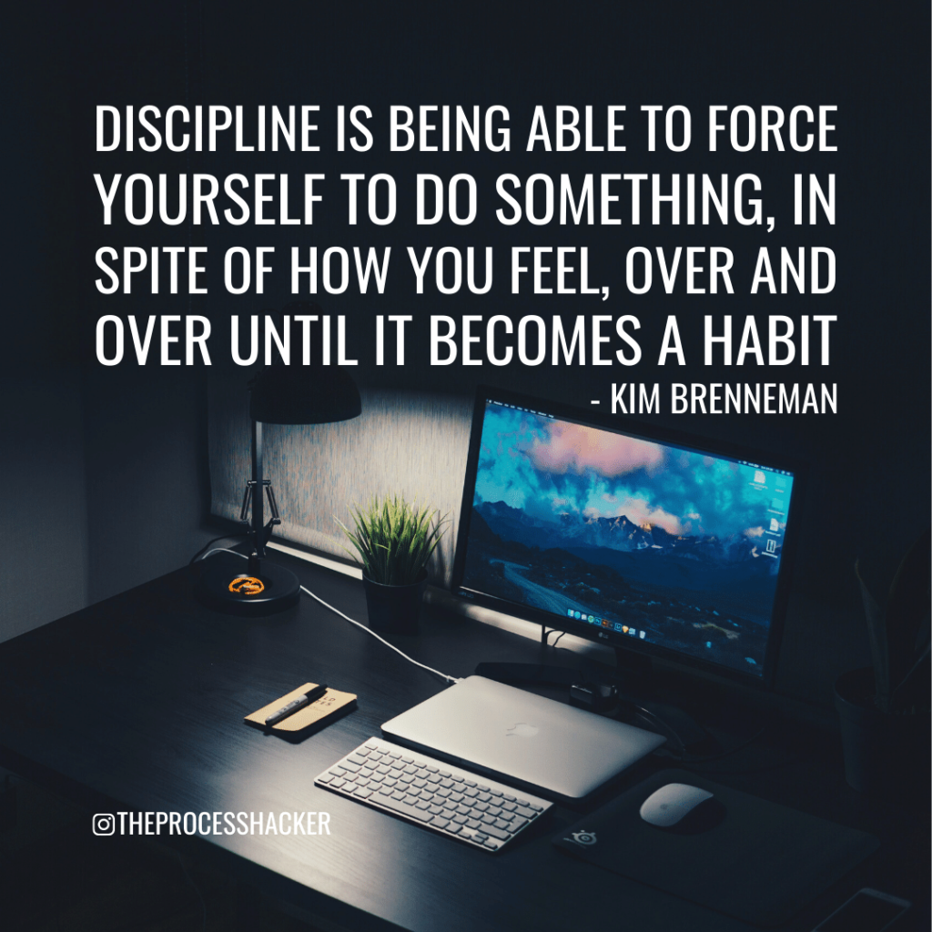 """Kim Brenneman: """"Discipline is being able to force yourself to do something, in spite of how you feel, over and over until it becomes a habit."""""""