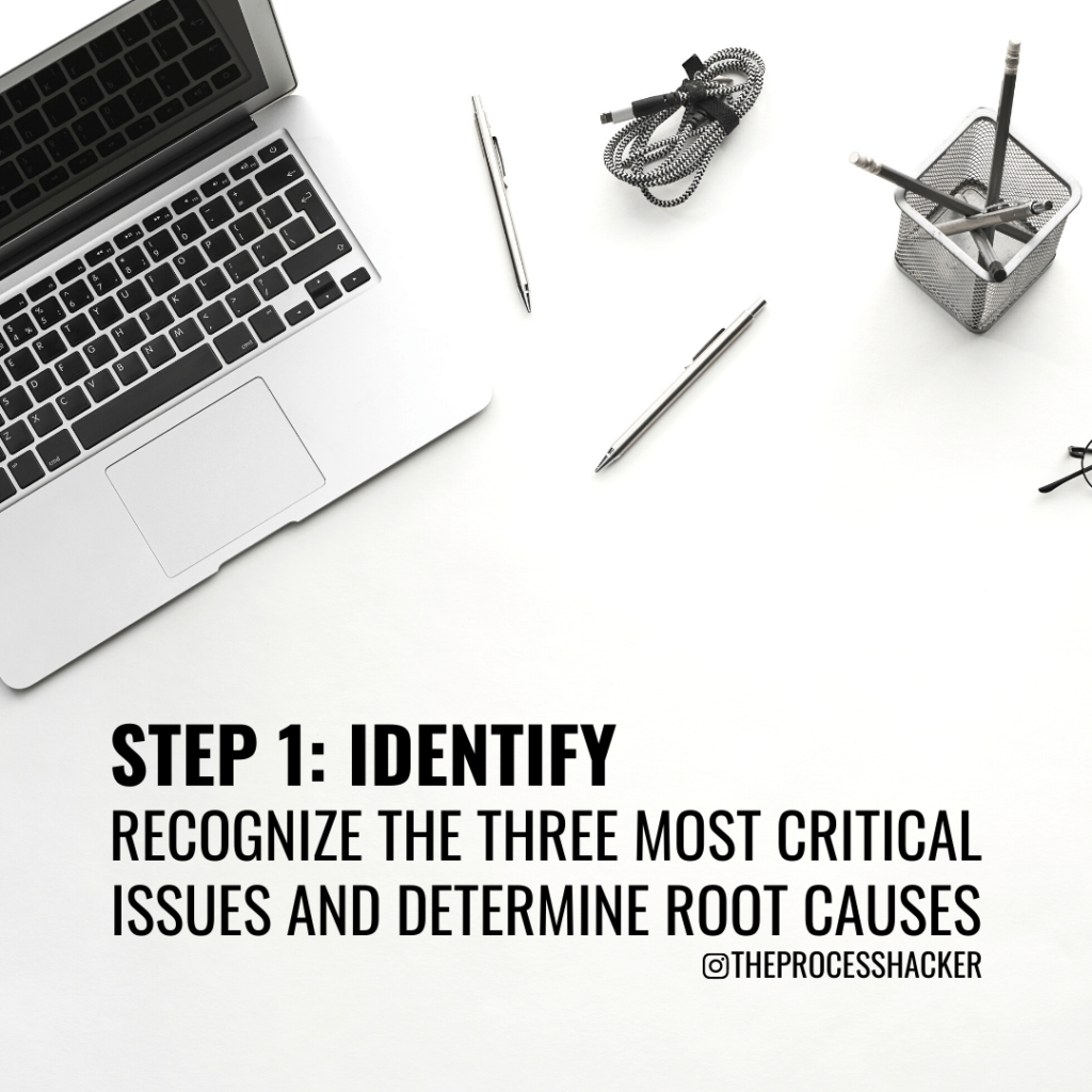 Identify: Recognize the three most important problems and determine the originating source for each issue.