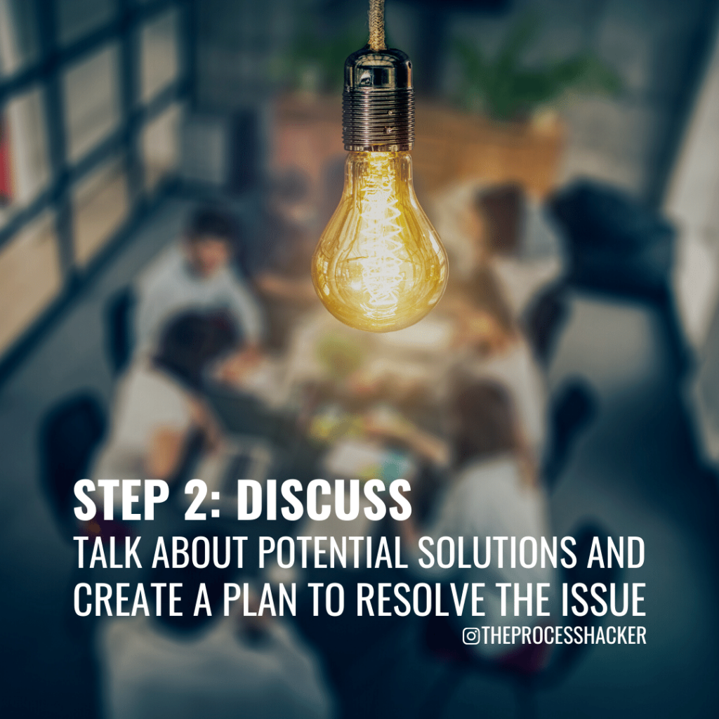 Discuss: Talk about possible solutions and establish an action plan to resolve the issues.