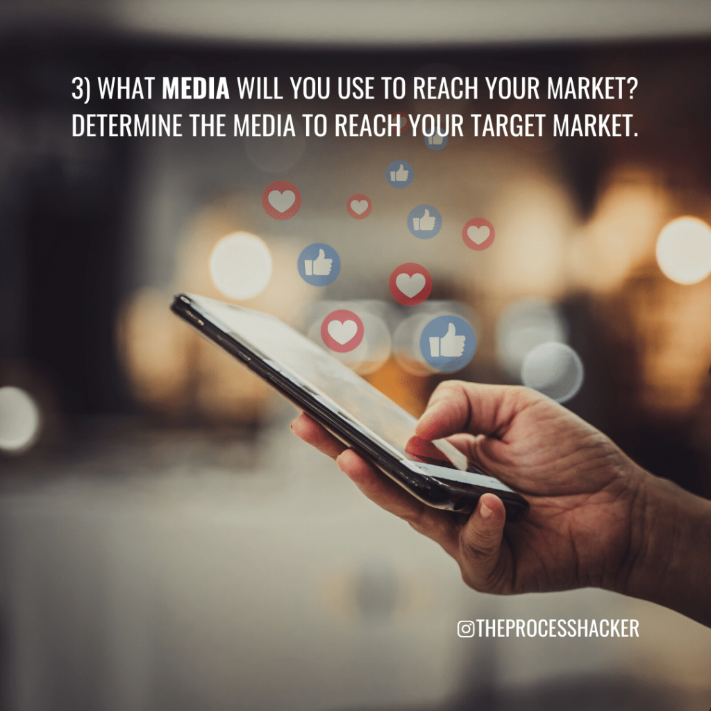 3. What Media will you use to reach your Market? Determine the Media to reach your Target Market.