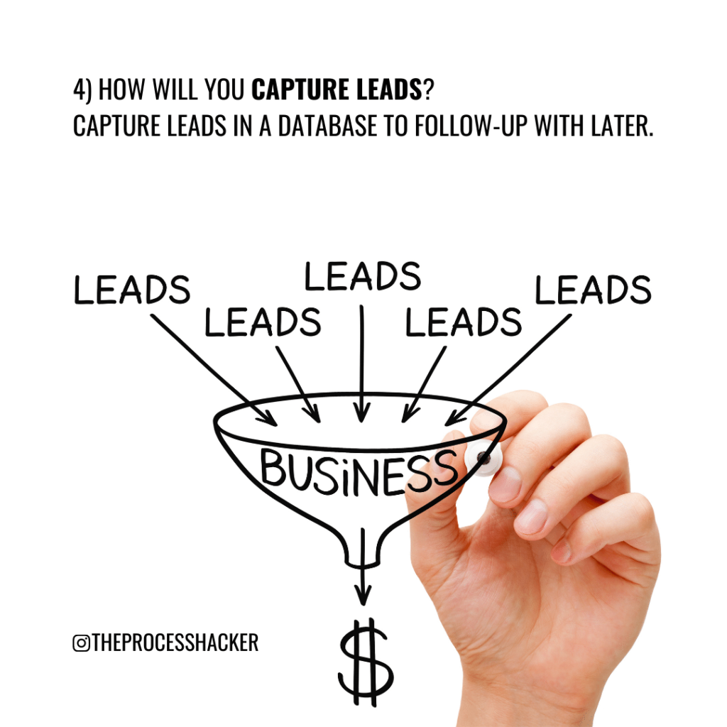 4. How will you Capture Leads? Capture Leads in a database to follow-up with later.